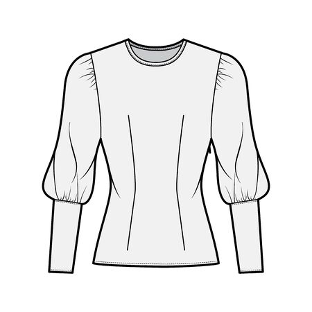 Blouse technical fashion illustration with round neckline, puffy mutton sleeves, fitted body, side zip fastening. Flat apparel template front grey color. Women, men unisex CAD garment designer mockup Illustration
