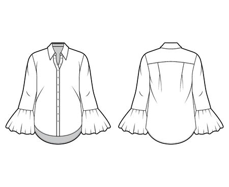 Classic shirt technical fashion illustration with sharp collar, voluminous fluted cuffs, long sleeves, oversized body. Flat apparel template front back white color. Women, men unisex garment CAD