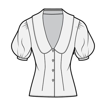 Blouse technical fashion illustration with collar framing the plunging V neck, oversized medium puffed sleeves, fitted body. Flat apparel template front grey color. Women men unisex CAD garment mockup