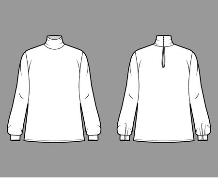 Turtleneck blouse technical fashion illustration with long sleeves and cuff, oversized body, button fastening keyhole at back. Flat apparel template front, grey color. Women men unisex garment mockup