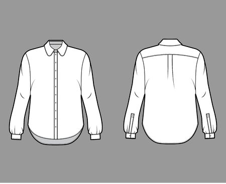 Classic shirt technical fashion illustration with button down front opening, round collar, long sleeves with cuff, oversized body. Flat apparel template front grey color. Women, men unisex CAD mockup Illustration