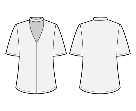 Blouse technical fashion illustration with short bell sleeves, cuff, oversized body, snap fastening choker at the neck. Flat apparel template front grey color. Women men unisex CAD mockup