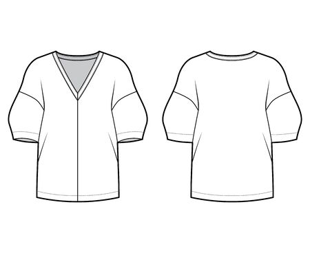 Blouse technical fashion illustration with deep V neck, dropped shoulders and side slits elbow sleeves, loose silhouette. Flat apparel template front back white color. Women men unisex CAD mockup