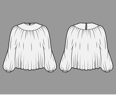 Blouse technical fashion illustration with statement sleeves, floaty loose fit, button fastening at keyhole back. Flat apparel template front, back, white color. Women, men unisex CAD mockup Illustration