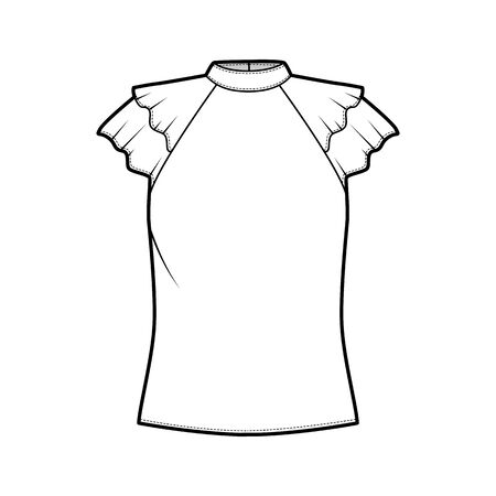 Blouse technical fashion illustration with high neckline banded collar, fluttery ruffles short sleeves, loose fitted body. Flat apparel template front white color. Women men unisex CAD garment mockup
