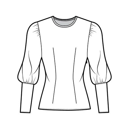 Blouse technical fashion illustration with round neckline, puffy mutton sleeves, fitted body, side zip fastening. Flat apparel template front white color. Women, men unisex CAD garment designer mockup
