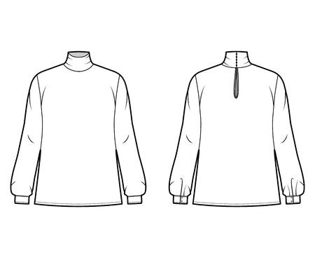 Turtleneck blouse technical fashion illustration with long sleeves and cuff, oversized body, button fastening keyhole at back. Flat apparel template front, back white color. Women men unisex mockup