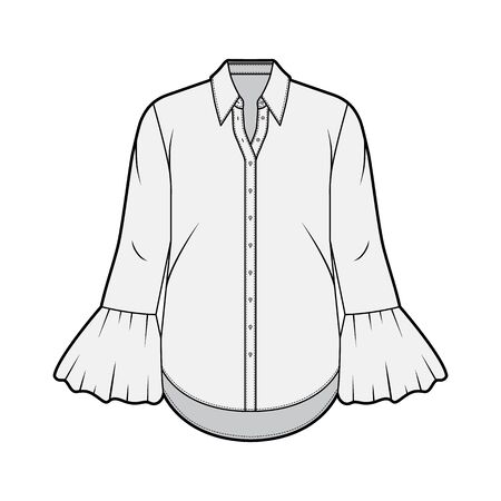 Classic shirt technical fashion illustration with sharp collar, voluminous fluted cuffs, long sleeves, oversized body. Flat apparel template front grey color. Women, men unisex garment CAD mockup