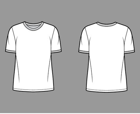 T-shirt technical fashion illustration with crew neck, fitted oversized body short sleeves, flat style. Apparel template front and back white color. Women and men unisex garment mockup for designer. Illustration