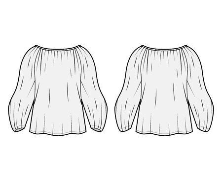 Shirt technical fashion illustration with oversized body, concealed button fastenings along front, ruffles, cropped sleeves. Flat apparel template front, back, white color. Women, men unisex mockup