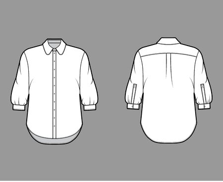 Classic shirt technical fashion illustration with button down front opening, round collar, elbow sleeves with cuff, oversized body. Flat apparel template front back white color. Women, men unisex CAD Illustration
