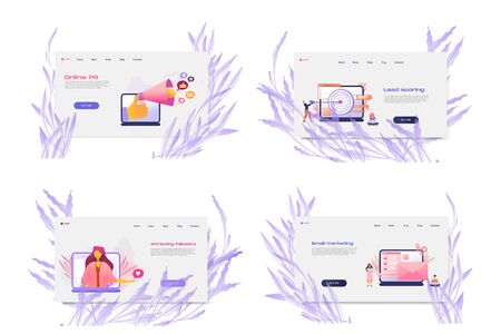 Flat cartoon icon set with email marketing business landing page template for concept design with characters. Pink purple style with flowers infographic metaphor illustration. Satisfaction and loyalty