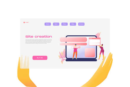Flat cartoon icon with site creation business landing page template for concept design with characters. Pink purple style with hands infographic metaphor illustration with notebook, flowers, windows Illustration