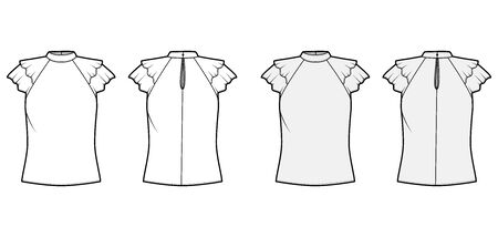 Blouse technical fashion illustration set with high neckline banded collar, fluttery ruffles short sleeves, loose fitted body. Flat apparel template front, back, white grey color. Women men unisex CAD