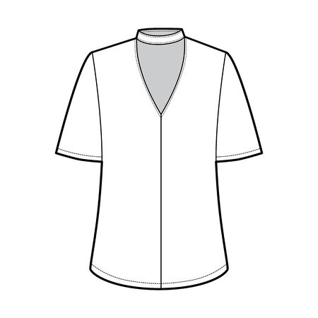 Blouse technical fashion illustration with short bell sleeves, cuff, oversized body, snap fastening choker at the neck. Flat apparel template front white color. Women men unisex CAD mockup