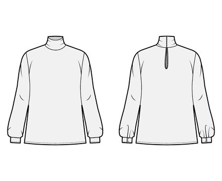 Turtleneck blouse technical fashion illustration with long sleeves and cuff, oversized body, button fastening keyhole at back. Flat apparel template front, back grey color. Women men unisex mockup