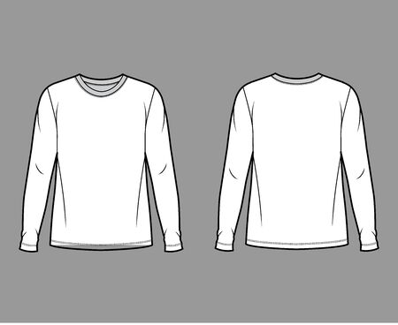 Cotton jersey top technical fashion illustration with crew neck, tunic length oversized body long sleeves flat. Apparel template front back white color. Women, men unisex garment mockup for designer