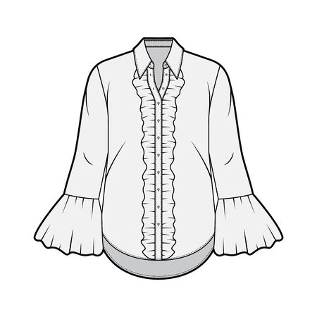 Ruffled shirt technical fashion illustration with sharp collar, voluminous fluted cuffs, long sleeves, oversized body. Flat apparel template front grey color. Women, men unisex garment CAD mockup Illustration