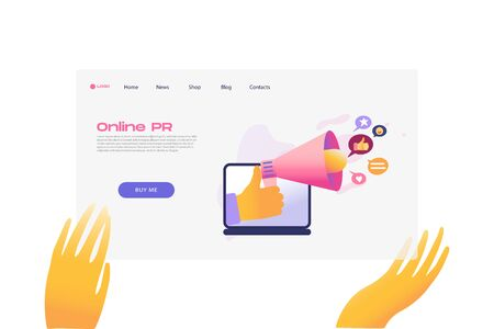 Flat cartoon icon with online PR business landing page template for concept design with characters. Pink purple style with hands infographic metaphor illustration with notebook, likes, speaker, horn