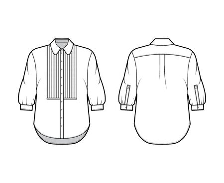 Shirt technical fashion illustration with bib, button down front opening, round collar, elbow sleeves with cuff, oversized body. Flat apparel template front back white color. Women, men unisex mockup