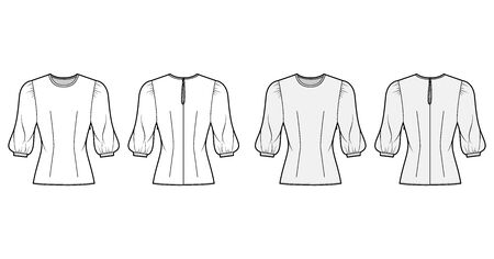 Blouse technical fashion illustration set with round neckline, puffy mutton sleeves, fitted body. Flat apparel template front, back, grey and white color. Women, men unisex CAD garment designer mockup