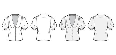 Blouse technical fashion illustration set with collar framing V neck, oversized medium puffed sleeves and body. Flat apparel template front, back, white grey color. Women men unisex garment CAD mockup