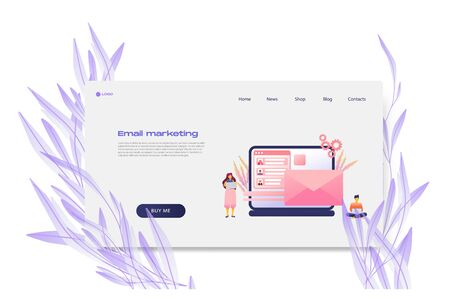 Flat cartoon icon with email marketing business landing page template for concept design with characters. Pink purple style with flowers infographic metaphor illustration with notebook, CRM, flowers Illustration