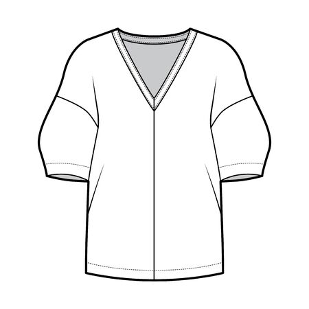Blouse technical fashion illustration with deep V neck, dropped shoulders and side slits elbow sleeves, loose silhouette. Flat apparel template front white color. Women men unisex CAD mockup