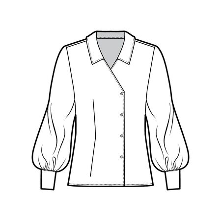 Blouse technical fashion illustration with oversized body, long bishop sleeves, regular collar, double breasted. Flat apparel template front white color. Women, men unisex CAD garment designer mockup Illustration