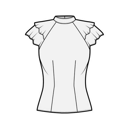Blouse technical fashion illustration with high neckline banded collar, fluttery ruffles short sleeves, fitted body. Flat apparel template front grey color. Women men unisex CAD garment mockup 矢量图像