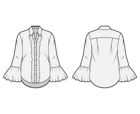 Ruffled shirt technical fashion illustration with sharp collar, voluminous fluted cuffs, long sleeves, oversized body. Flat apparel template front back grey color. Women, men unisex garment CAD mockup
