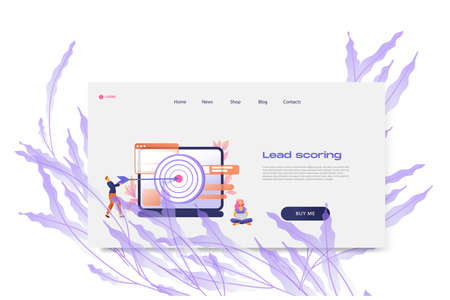 Flat cartoon icon with lead scoring landing page template for concept design with characters. Pink purple style with flowers infographic metaphor illustration with notebook, windows, flowers, target
