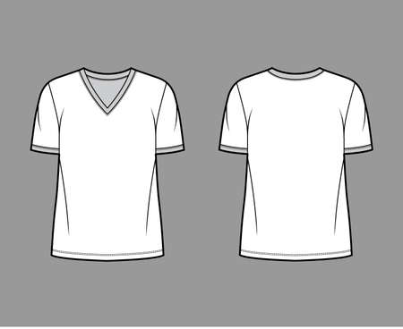 T-shirt technical fashion illustration with V neck, fitted oversized body short sleeves, flat style. Apparel template front and back white color. Women and men unisex garment mockup for designer. 矢量图像