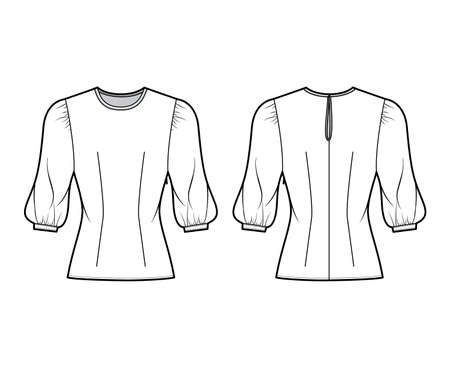 Blouse technical fashion illustration with round neckline, puffy mutton sleeves, fitted body. Flat apparel template front, back white color. Women, men unisex CAD garment designer mockup