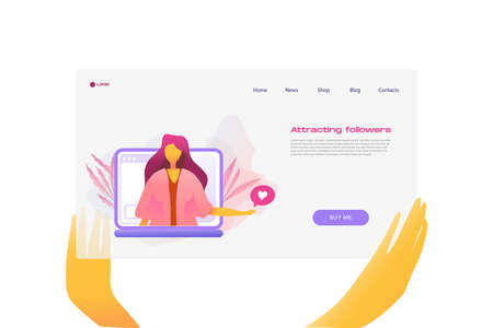Flat cartoon icon with attracting followers business landing page template for concept design with characters. Pink purple style with hands infographic metaphor illustration with notebook, flowers Illustration