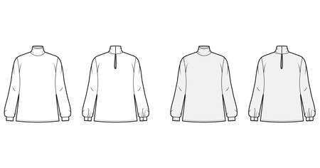 Turtleneck blouse technical fashion illustration with long sleeves, cuff, oversized body, button fastening keyhole at back. Flat apparel template front, back white grey color. Women men unisex mockup
