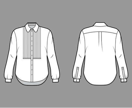 Shirt technical fashion illustration with bib, button down front opening, round collar, long sleeves with cuff, oversized body. Flat apparel template front back white color. Women, men unisex mockup Illustration