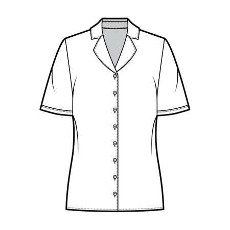 Pajama style blouse technical fashion illustration with notched lapel collar, short sleeves, loose fit body. Flat apparel template front, white color. Women, men unisex CAD garment designer mockup Illustration