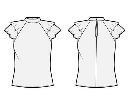 Blouse technical fashion illustration with high neckline banded collar, fluttery ruffles short sleeves, loose fitted body. Flat apparel template front, back grey color. Women men unisex CAD mockup Illustration