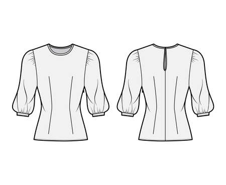Blouse technical fashion illustration with round neckline, puffy mutton sleeves, fitted body. Flat apparel template front, back grey color. Women, men unisex CAD garment designer mockup Illustration