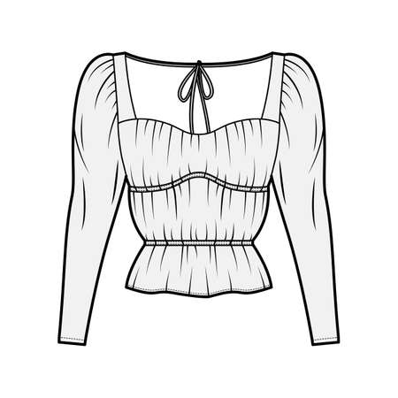 Shirt technical fashion illustration with oversized body, concealed button fastenings along front, ruffles, cropped sleeves. Flat apparel template front, back, white color. Women, men unisex mockup Vector Illustration