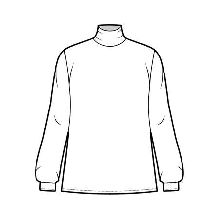 Turtleneck blouse technical fashion illustration with long sleeves and cuff, oversized body, button fastening keyhole at back. Flat apparel template front, white color. Women men unisex garment mockup