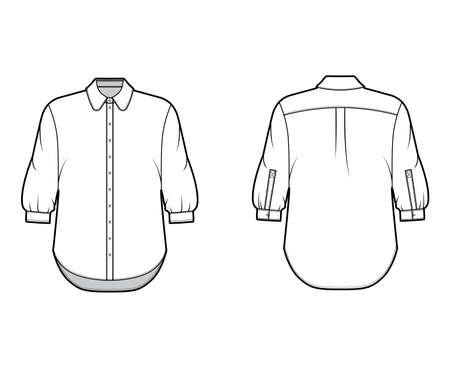 Classic shirt technical fashion illustration with button down front opening, round collar, elbow sleeves with cuff, oversized body. Flat apparel template front back white color. Women, men unisex CAD 矢量图像