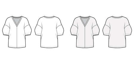 Blouse technical fashion illustration set with deep V neck, dropped shoulders and side slits elbow sleeves, loose silhouette. Flat apparel template front back grey white color. Women men unisex mockup