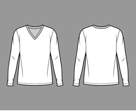 Cotton jersey top technical fashion illustration with V neck, tunic length oversized body long sleeves flat. Apparel template front back white color. Women, men unisex garment mockup for designer