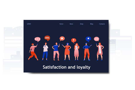 Flat cartoon icon with satisfaction and loyalty business landing page template for concept design with characters. Blue orange style with city infographic metaphor illustration with phones, likes