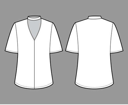 Blouse technical fashion illustration with short bell sleeves, cuff, oversized body, snap fastening choker at the neck. Flat apparel template front back white color. Women men unisex CAD mockup