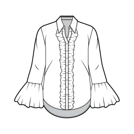 Ruffled shirt technical fashion illustration with sharp collar, voluminous fluted cuffs, long sleeves, oversized body. Flat apparel template front white color. Women, men unisex garment CAD mockup