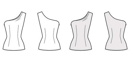 One-shoulder top technical fashion illustration with fitted body, close fit, sleeveless, side zip fastening. Flat apparel blouse template front, back white grey color. Women, men and unisex mockup CAD