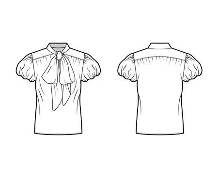 Pussy-bow blouse technical fashion illustration with oversized body, loose fit, short bubble sleeves. Flat apparel shirt template front, back white color. Women, men and unisex mockup CAD for designer Vector Illustration